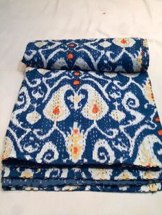Indian Ikat Print Kantha Quilt Throw Vintage Cotton Bedspread Reversible Gudri