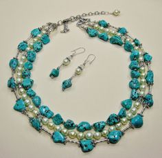 Bride / Bridesmaid Statement Turquoise / Pearl Necklace Wedding Destination Bridal Jewelry - TuRQUoiSe WeDDiNG JeWeLRy