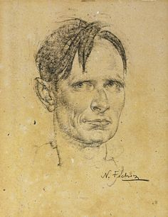 Nikolai Fechin (1881-1955), Portrait of Christopher Isherwood. Charcoal and black crayon heightened with white,  44,4 x 34,3 cm.