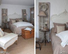 Tête de lit rocaille de style Louis XV peinte en blanc, guéridon utilisé en table de nuit et lampe sur pied 'Maisons du Monde', ancien volet à persienne patiné à la chaux détourné et agrémenté d'une lanterne en métal 'Coquecigrues'