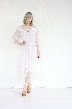 beautiful vintage 1930's crochet IVORY PETAL sheer floral wedding dress