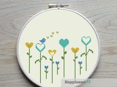 cross stitch pattern flowers little heart flowers by Happinesst