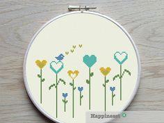 cross stitch pattern flowers little heart flowers by Happinesst