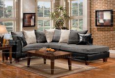 Ewell Grpahite + Ebony Sofa Sectional Set Plush Pillows