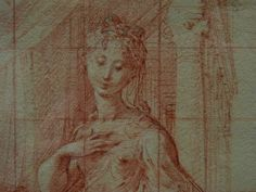 "PARMIGIANINO - Madone au long Cou, Etude (Louvre RF577) - Detail -a  -  TAGS : drawing dessin disegno personnage figure figures people personnes art painter peintre details détail détails  croquis étude study sketch sketches Louvre France Italy Italy «Le Parmesan» Parmesan ""Francesco Mazzola"" Francesco Mazzola Parme Parma sanguine ""red chalk"" ""Madone au long Cou"" Madone Madona jesus Christ Bible child Virgin Vierge femme woman beauty beauté élégant elegant ""elegant woman"" Rideau curtain"