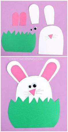 Paper Bunny Hiding in the Grass - Cute Easter craft for Kids to Make! | http://CraftyMorning.com