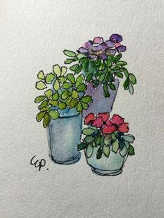 Potted Blooms Watercolor Card / Hand Painted by gardenblooms