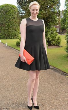 Blonde ambition: Gwendoline Christie put on a leggy display in a thigh-skimming black dress on Monday