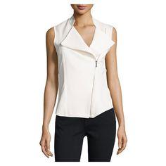 P. Luca Chiffon Back Asymmetric Zip Vest, Off White ($99) ❤ liked on Polyvore featuring outerwear, vests, vest waistcoat, sleeveless vest, chiffon vest and sleeveless waistcoat