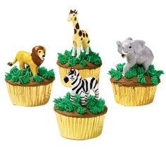Our Cool Zoo Cupcakes are super-easy to make! Top them with Wilton's Jungle Animals Topper Set.