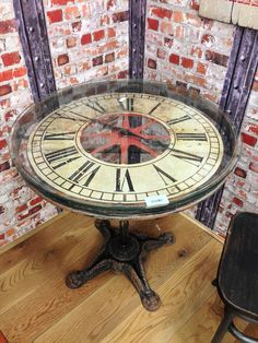 Vintage Industrial Clock Round Dining Table $760.22