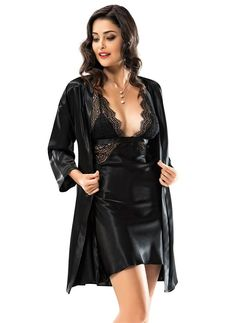 Black is the new Black 😉 Set ne super oferte, 3500 Lek! Satin Nightie, Satin Sleepwear, Satin Lingerie, Pretty Lingerie, Beautiful Lingerie, Bridal Lingerie, Women Lingerie, Sexy Night Dress, Night Gown
