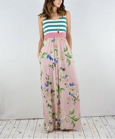 Green & Pink Stripe & Floral Maxi Dress - Women & Plus by éloges #zulily #zulilyfinds