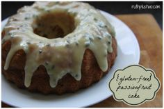 {gluten-free} passionfruit cake with drizzled icing. Definitely a crowd-pleaser - it disappeared in no time!