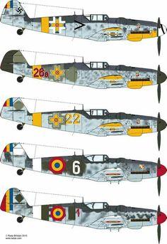 Romanian Messerschmitt Part Ww2 Aircraft, Fighter Aircraft, Military Aircraft, Luftwaffe, Focke Wulf, Aircraft Painting, Ww2 Planes, Military Photos, Aviation Art