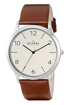 If Skagen's Danish roots guarantee one thing, it's slick Scandinavian design - and this budget-friendly, leather-strapped option with a no-nonsense dial has it in bucket loads. Nick Carvell £85. skagen.com