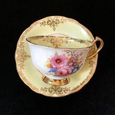 Vintage Tea Cup Windsor China Yellow Gold Tea by VintageTeacupShop