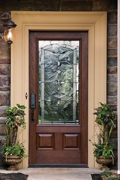 Stained Fibergl Entry Door With Decorative Gl Looks Like Real Wood Exterior Doors