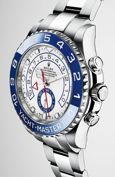 The new Yacht-Master II in steel with a white dial, blue Cerachrom bezel and Oyster bracelet.