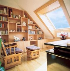 The design of a study in the attic #homedesign