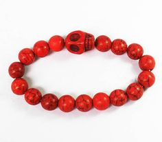 GIFT| Cool Turquoise Bright Red Skulls & Red Ball Beads Stretch Bracelet ZZ528