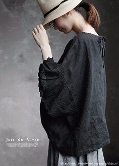 black linen & eyelet lace ー Japan Fashion, Boho Fashion, Womens Fashion, Fashion Design, Linen Dress Pattern, Mori Girl, Linen Dresses, Sewing Clothes, Simple Style
