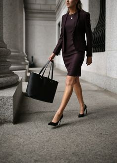 workwear wardrobe essentials featuring a burgundy red hugo boss suit dress and suit jacket with black stiletto jimmy choo pumps a black tote bag and gold hoop earrings