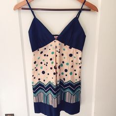 *Moving Sale* Dusty-Rose Chevron Polka dot top Features dusty rose-beige color with blue accents, adjustable straps in small size. Great condition! Lucca Couture Tops
