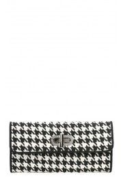Woven Houndstooth Envelope Clutch BLACK