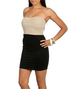 Ribbed Colorblock Tube Dress (Doeskin). Wet Seal. $26.50