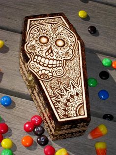 Skull Coffin Box pyrography by MotherSpoon on Etsy