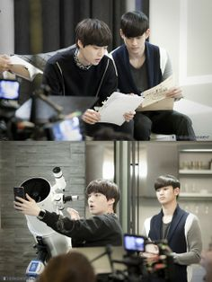 Kim Soo-Hyun and Ahn Jae-Hyeon in behind the scenes of ' You Who Came From the Stars ' [lol the selfie with the expensive telescope] #kdrama