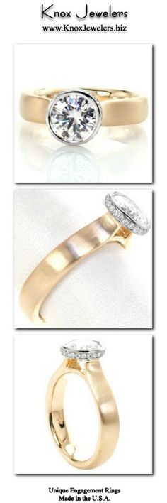 Crafted in 14k yellow and white gold, this simple, engagement ring design has a refined wide band with a brushed finish. The 1.20 carat round brilliant center gemstone is showcased in a unique full bezel. A row of channel set round cut gems frame the center on its side profile. All of these elements make this an elegant contemporary design. For more information about this custom, made in the USA ring, click on pin.  #engagement #ring #wedding Engagement Rings Round, Designer Engagement Rings, Solitaire Engagement, Contemporary Engagement Rings, Side Profile, Man Made Diamonds, Round Cut Diamond, Unique Rings, Ring Designs