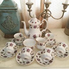 "Royal Albert Sweet Violets coffee set, coffee pot is 9.5"" x 8"", pristine condition - P13k #shabbychicphl #royalalbert #sweetviolets #shabbychicphilippines  http://www.shabbychicphl.com/product/royal-albert-sweet-violets-coffee-set/"