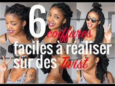 6 coiffures faciles sur vanilles avec rajouts, 6 easy hairstyle with twist - YouTube