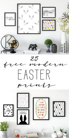 Spruce up your gallery wall for Easter with 25 free modern Easter prints. Perfect for minimlaists, modernist and lovers of Scandi design.