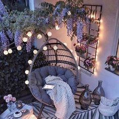 Apartment Balcony Decorating, Apartment Balconies, Small Balcony Decor, Balcony Ideas, Modern Balcony, Arizona Gardening, Hanging Chair, Outdoor Spaces, Cosy