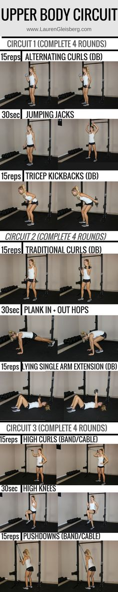 UPPER BODY CIRCUIT WORKOUT   click for the full weight training plan for women