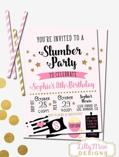 Slumber Party Invitation Sleepover By LillyMaeDesigns Birthday Ideas 10th Parties Girl