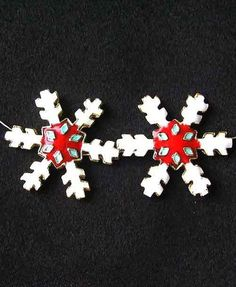 TWO Red CLOISONNE Snowflake CENTERPIECE Beads 8638E - Premium Bead