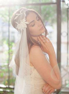 Wedding Headpiece  Bridal Veil  Boho Ivory Veil  by JannieBaltzer