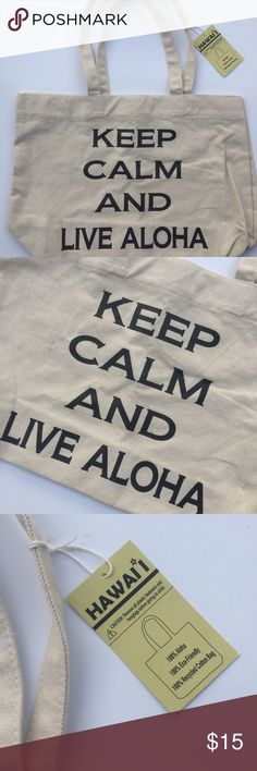 Keep Calm and Live Aloha eco-friendly tote Medium canvas tote bag designed in Hawaii. Bags Totes
