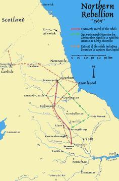 The Northern Rebellion Map, 1569 England Map, England Ireland, Barnard Castle, Wars Of The Roses, Plantagenet, Northern England, Richard Iii, Tudor History, Cartography