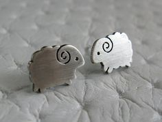 Little Sheep Earrings Studs Handmade Sterling Silver by pippoko, $25.00