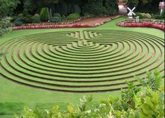 peaceful grass labyrinth