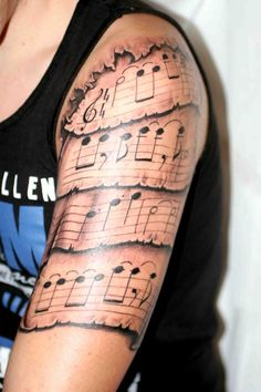 Just like songs themselves, music tattoos can be extremely expressive and compelling. While tattoos were once a way to show the desire to rebel, now tattoos are considered a true form… Sheet Music Tattoo, Music Tattoos, New Tattoos, Cool Tattoos, Quote Tattoos, Half Sleeve Tattoos Forearm, Girls With Sleeve Tattoos, Tattoos For Guys, Wrist Tattoo