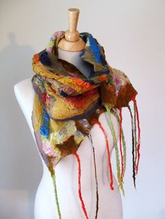 Nuno Felted Scarf Colorful Merino Wool and Silk by lanadeflor, $56.00