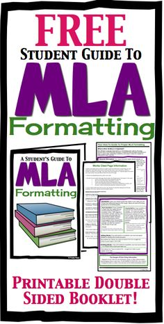 FREE MLA Formatting Booklet For High School Students by Presto Plans