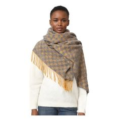 Acne Studios Canada Scarf (€330) ❤ liked on Polyvore featuring accessories, scarves, checkered scarves, fringe shawl, acne studios and fringe scarves
