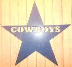 "Awesome, faded blue to silver powdercoat finish, steel, Dallas Cowboys Star. 12"" tall x 12"" wide, steel logo. Hangs easily with 2 brad-nails, indoors or out. Made out of thick, high quality sheet-metal. Note: this is not an official NFL logo or product, Item is my interpretation of a Cowboys Star.   Great for the Dallas Cowboy fan in your life.!! Perfect gift for kids or for the ""man cave""   Shipped next day using UPS"